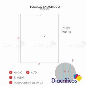 Bolsillo en Acrílico Pegado