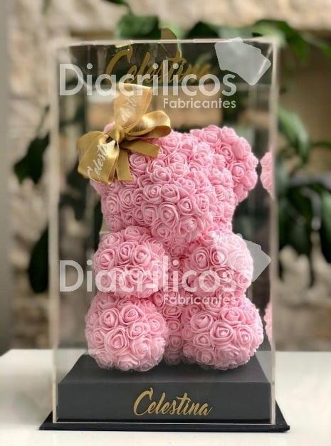Etiqueta alt: osos de rosos obsequio – crílico transparente